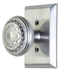 Door Knobs 2 inch backset door knobs pictures : Inch Romanesque Door Knob With Rectangular Rosette (Brushed Nickel ...