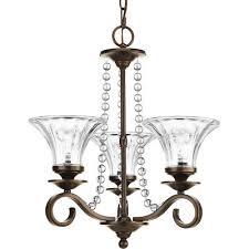 progress lighting bliss 3 light antique bronze glam clear glass shade chandelier
