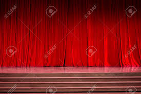 lighting curtains. Curtains And The Stage Parquet With Stairs In Theater Colorful Lighting. Stock Photo - Lighting E