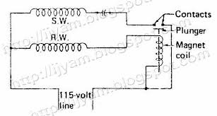 electrical control circuit schematic diagram of capacitor start current switch relay output diagram of a capacitor start motor using a current relay instead of a centrifugal switch