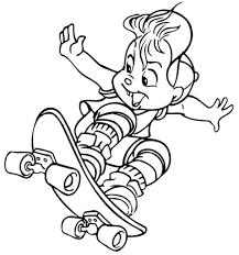 skateboarding coloring page printable