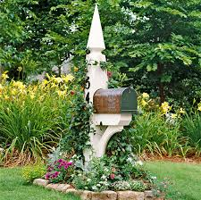 landscaping around mailbox post. Copper Mailbox On White Post With Beautiful Landscaping Via BHG Around N