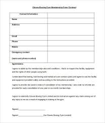 Gym Membership Form Template Gym Registration Forms For Ms Word