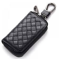 uni genuine leather keychain key holder bag zippered key case 41001310k