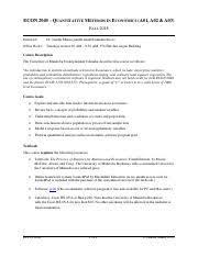 ECON 2040 - Course Outline (Copyright Janelle Mann, 2017) - Final.pdf -  ECON 2040 QUANTITATIVE METHODS IN ECONOMICS(A02 A03 FALL 2017 Instructor Dr  | Course Hero