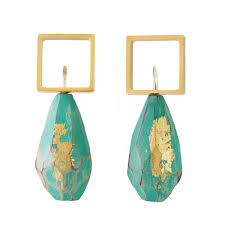 wooden faceted green and 18ct gold plate wooden earrings