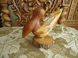 hand carved wood pelican nautical deco