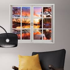 Artificial Window Sunset 3d Artificial Window View 3d Wall Decals Lake View Room