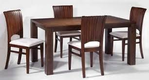 modern dining room with rectangular solid wood table set with chairs contemporary dining tables