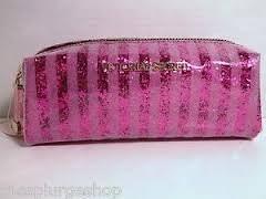 victoria s secret pink stripes plastic glitter cosmetic makeup bag