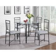 black dining room set. dorel living 5-piece delphine glass top metal dining set, black room set