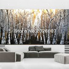Image Citrin Club Hand Painted Landscape Palette Knife Brown Gold Tan White Birch Aspen Oil Painting On Canvas Modern Home Decoration Fine Artin Painting Calligraphy From Aliexpresscom Hand Painted Landscape Palette Knife Brown Gold Tan White Birch