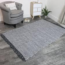 large black and white woven herringbone rug 120x180cm