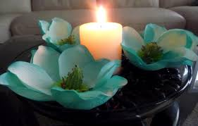 Turquoise And White Wedding Decorations Hand Painted Teal Turquoise Magnolias With A White Pillar Candle