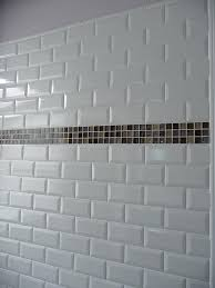 white glass subway tile with mosaic band accent kitchens grey grout kitchen backsplash