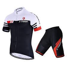X Tiger Mens Cycling Jersey Set Short Sleeve Biking With 5d Gel Padded Shorts Mtb Road Bike Cycling Clothing Set