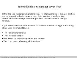 international sales manager cover letter In this file  you can ref cover letter materials for