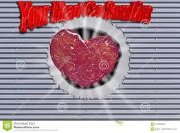 Hintergrund Metallwand Mit Loch Und Herz Stock Abbildung