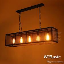 cuboid iron pendant lamp rectangular hanging lighting long metal frame mesh suspension light loft restaurant hotel cafe bar vintage industry vintage pendant
