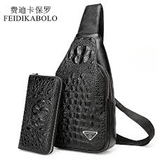 feidikabolo 3d crocodile men chest pack leather travel men s cross bags male shoulder bag back bag rucksack men clutch purse