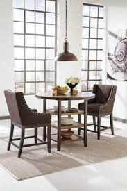 moriany dark brown cal dining counter table whit 2 upholsteredolstered nailhead counter barstools