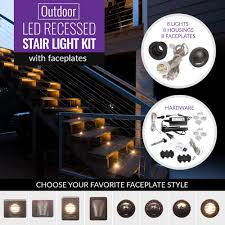 Dekor Outdoor Led Stair Light Kit Outdoor Led Recessed Stair Light Kit 8 Pack With Faceplates