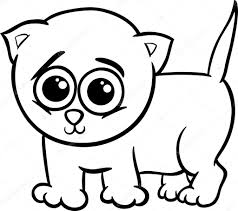 Baby Kitten Cartoon Kleurplaat Stockvector Izakowski 36735113