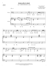 hallelujah piano sheet music hallelujah notes and lyrics bass clef for vocal with