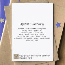 Alphabet Card Swimming Alphabet Card By Becka Griffin Illustration
