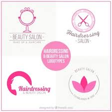 hand mirror template. beauty salon logos in pink color hand mirror template