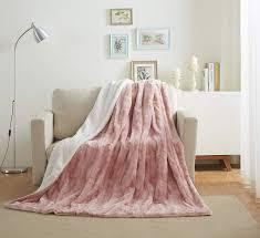 Light Pink Fur Throw Blanket Tache 50x60 Faux Fur Blush Light Dusty Rose Gold Pink Super Soft Warm Throw Blanket