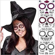 unomor sugar skull makeup day of the dead tattoos mask for skeleton costumes