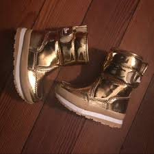 J Crew Girls Rubber Duck Snow Boots In Gold