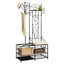 Metal Entryway Bench With Coat Rack Black Metal Entryway 100 Hook Coat Hat Rack Hall Tree Stand 47