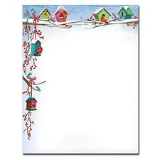 Holiday Stationery For Word Christmas Birdhouses Holiday