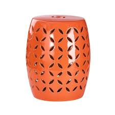 abbyson living albony ceramic garden stool in orange