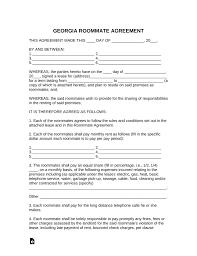 Sample Roommate Contract Free Georgia Roommate Room Rental Agreement Template Pdf Word