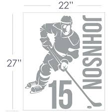 removable sports wall decals removable custom name number hockey player  vinyl wall decals removable custom name . removable sports wall decals ...