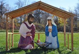 compelling lighted outdoor nativity scene holy family