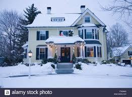 Christmas Lights New England Christmas House Exterior Lights England Stock Photos