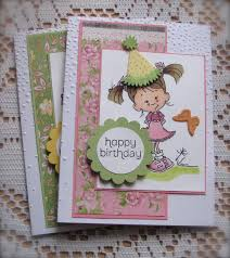 Avery Greeting Cards Handcoloured Handcrafted Avery Girl Happy Birthday Greeting Cards Set Of 2 Shipping Included