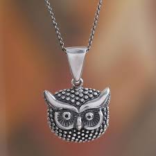 sterling silver owl pendant necklace from mexico single owl