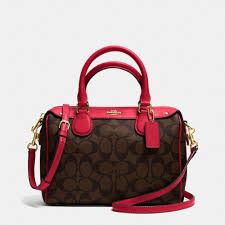 Coach Signature Print Mini Bennett Satchel Shoulder Bag Crossbody Brown Red   Coach  Satchel