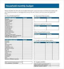 Family Budget Template Free Free Monthly Household Budget Template Opusv Co