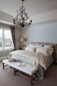 oil rubbed bronze chandelier bedroom traditional with beige carpet blue walls cotton crystal crystal