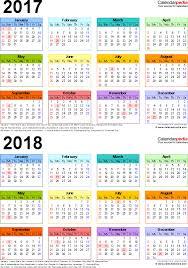 template 4 pdf template for two year calendar 2017 2018 portrait orientation
