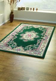 lotus premium aubusson green wool rug