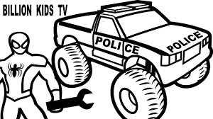 Spiderman Repair Police Monster Truck Coloring Pages for Kids ...