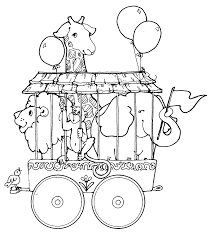 Small Picture Circus train with giraffe lion and elephant coloring page Train