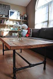 reclaimed wood coffee table with iron